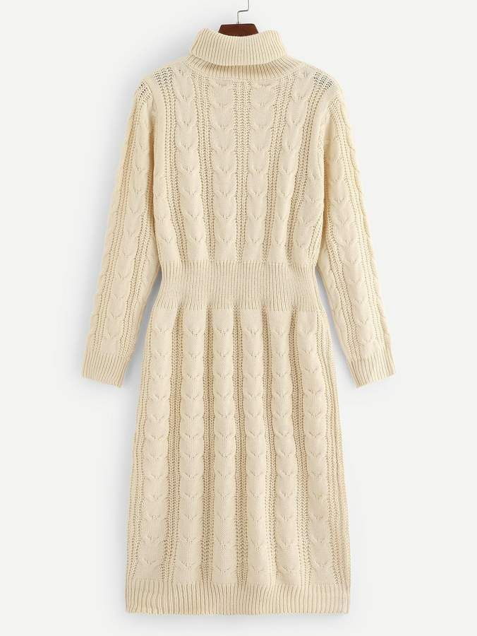 Shein Turtleneck Cable Knit Sweater Dress
