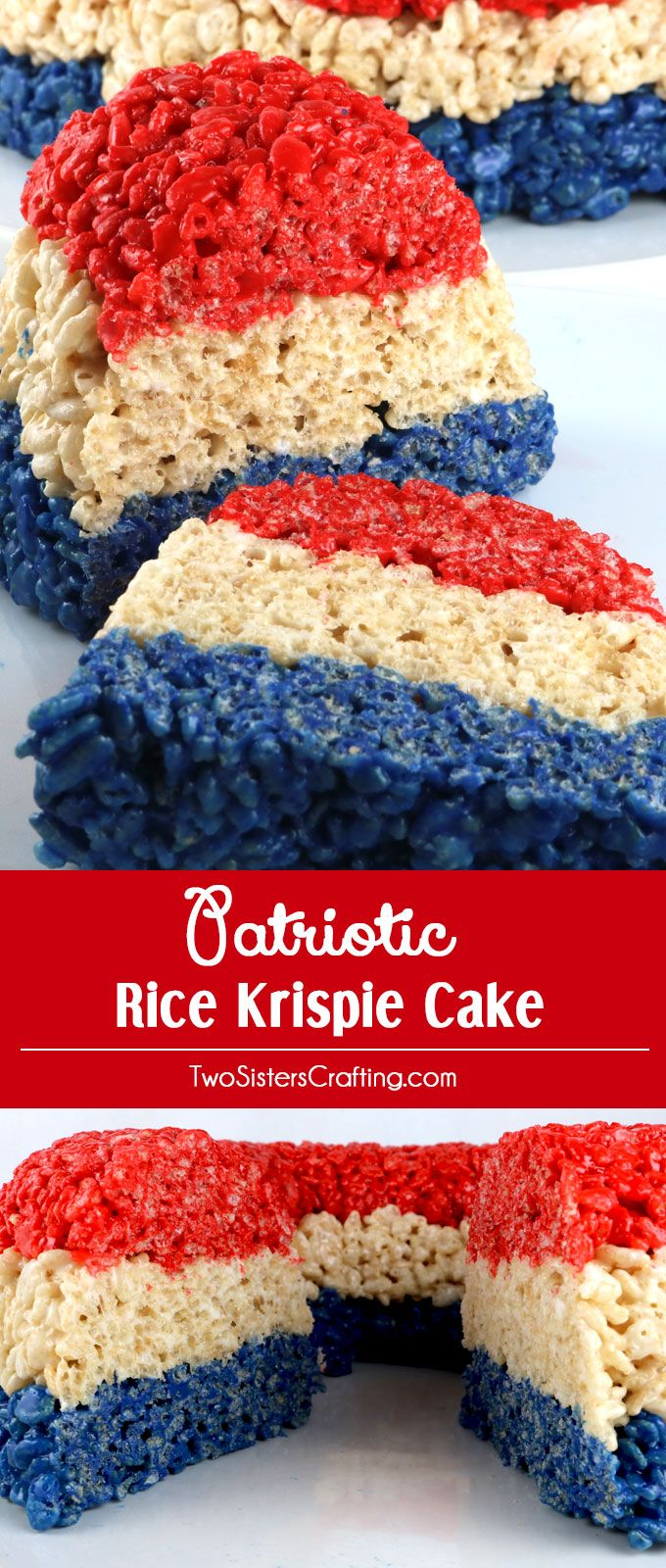 Patriotic Rice Krispie Cake - gorgeous, delicious and unique! This lovely Red White and Blue treat will be a hit with your family and your party guests because who doesn't love Rice Krispie Treats? It would be a great dessert for a 4th of July Party, a Memorial Day BBQ or even an Olympics viewing party. Pin this delicious 4th of July treat for later and follow us for more great 4th of July Food Ideas.