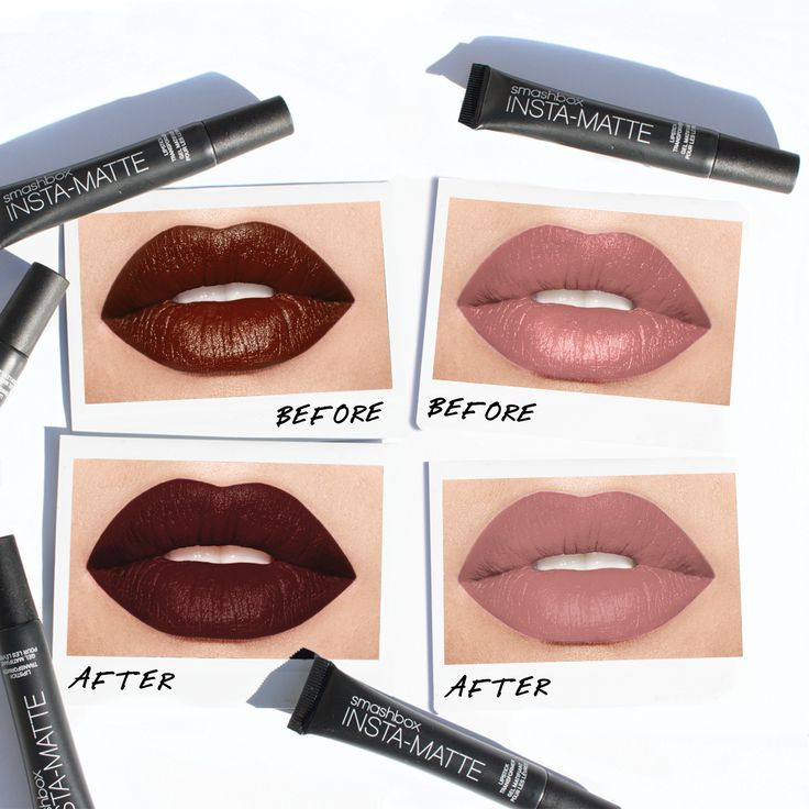 Smashbox Insta-matte Lipstick Transformer (which instantly turns cream shades matte [raised hands emoji]): TAP. Apply by TAPPING the product onto lips with your finger until you see that velvety, matte finish everyone's loving. L to R: #BELEGENDARY Lipstick cream shades in Witchy and Audition