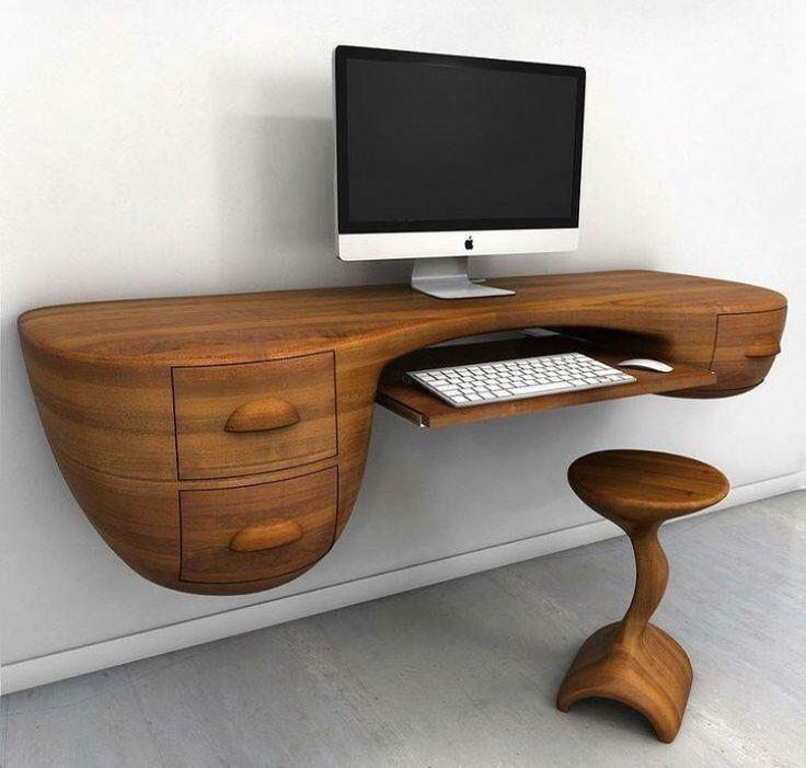Scrivania in legno sagomato  Apple Mac  #desk #apple #office
