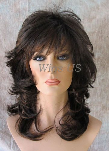 Brown with Auburn Medium Wavy Choppy Multi Layers Bangs Volume Wigs
