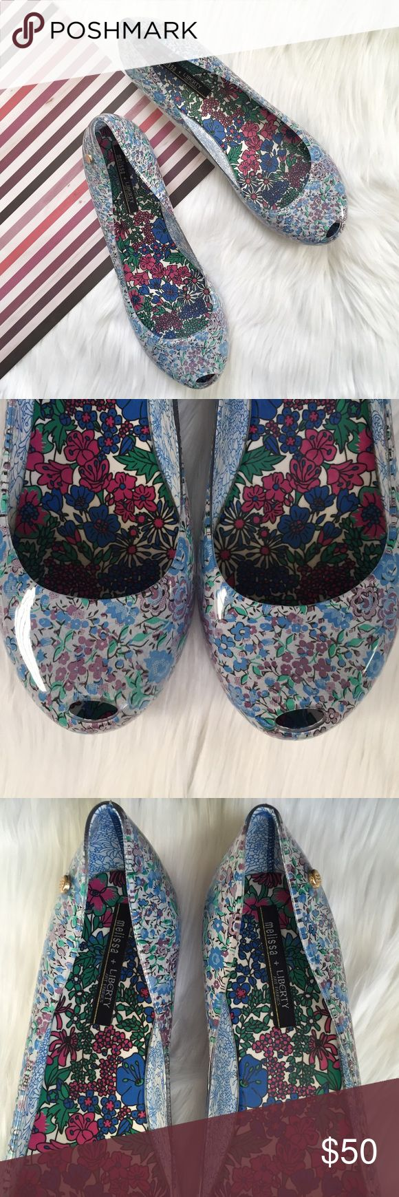 Melissa Liberty Print Ultragirl Ballet Pump Sz 10 Pre-loved, No box, No dust bag, Women's ballet peep toe pump, Melflex plastic and PVC, Liberty floral print, Golden Melissa pin on the side, hidden wedge. Please feel free to ask questions. No trades. Melissa Shoes Flats & Loafers