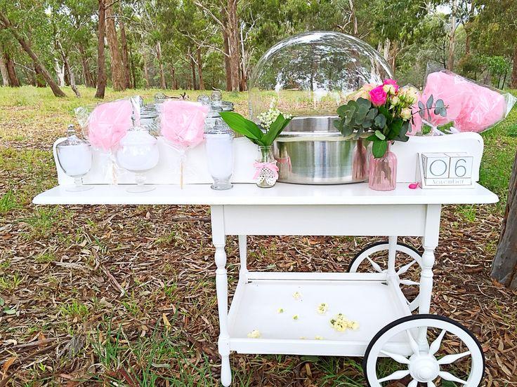 Our Vintage Fairyfloss cart for our Melbourne clients
