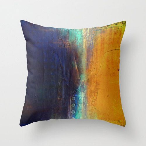 Navy and Gold Decorative throw pillow by LizMosLoft on Etsy, $27.00