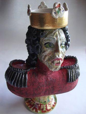 Michaela Kloeckner   Anthropomorphised MJ - 2014   Hand built, white Raku clay, copper carbonate wash, ceramic colours, gold lustre glaze, tissue paper print, multiple firings to 1080 degrees Celcius   33cm (high) x 34cm (wide)