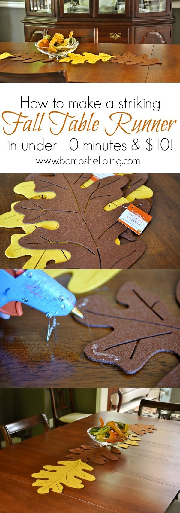 I love this fall leaf table runner that can be made for under 10 dollars in under 10 minutes!