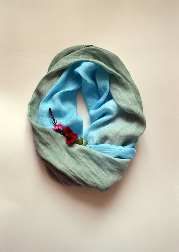 Pastel Blue Sage Linen Scarf  Ombre Dyed Scarf  Beach by lyralyra