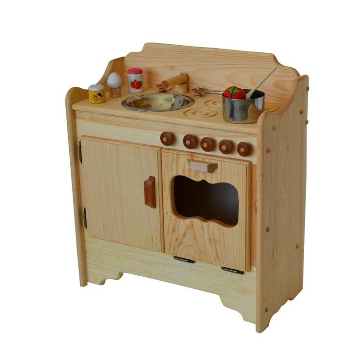 Natural Wooden Play Kitchen Wooden Toy Kitchen  Waldorf Kitchen Montessori  Play Stove