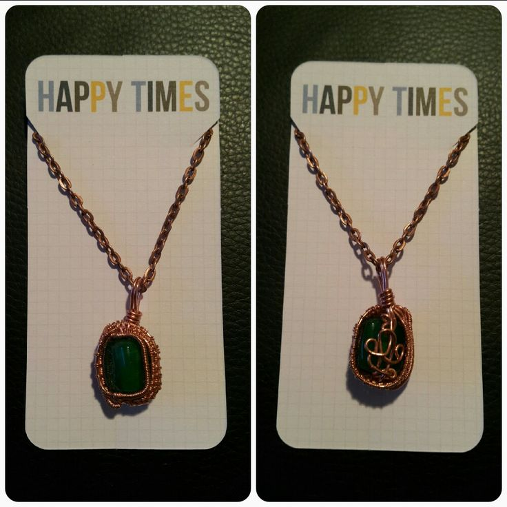 Copper Wire Weaving with Green Glass Alabaster Pendant