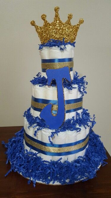 Litter Princes Diaper Cake Boy Baby Shower Royal Blue And Gold