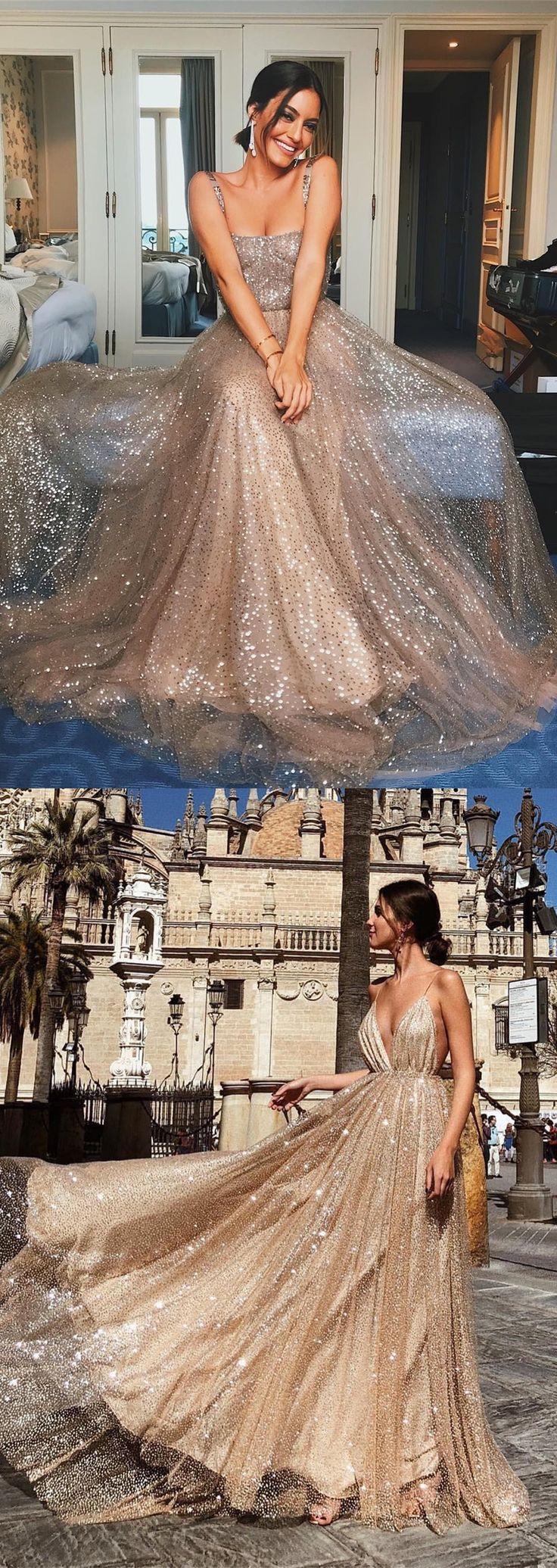 lantejoulas blush deslumbrante vestidos longos de baile, cintas de espaguete de luxo …   – Fancy