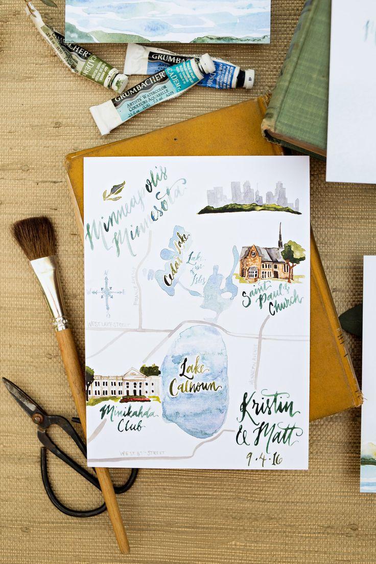 custom watercolor wedding map wedding invitations WOuldnu0027t