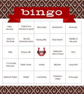Kentucky Derby Bingo - 16 free printable cards