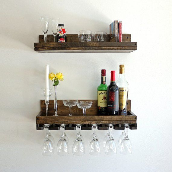 Rustic Wood Wine Rack Wall Mounted Shelf With Unique Beveled