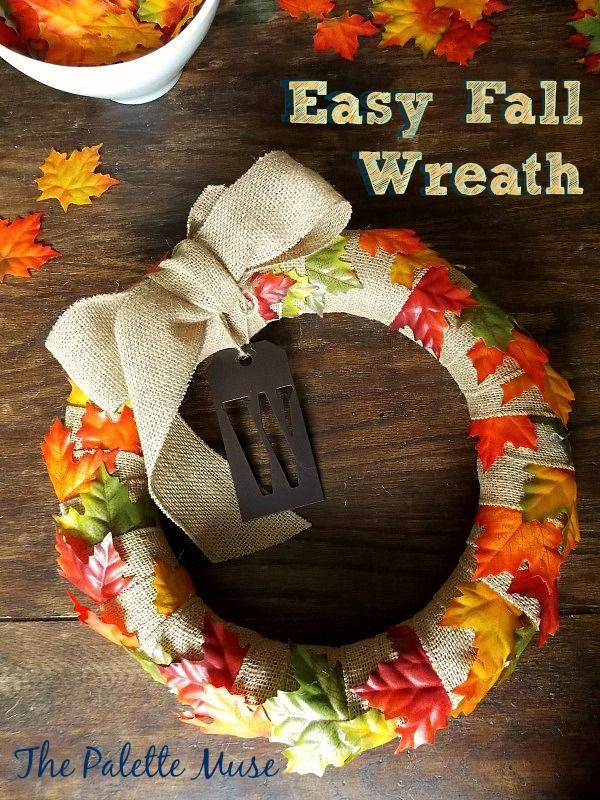 Easy Fall Wreath - No gluing or sewing, and comes together in minutes!