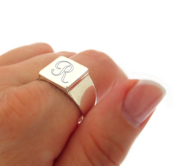 Sterling Silver Square Engraved Signet Ring / Initial Ring / Monogram Ring / Personalized Unisex Ring