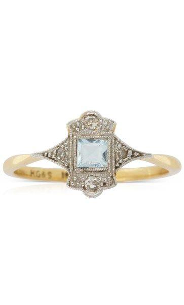 Vintage 18ct yellow gold aquamarine & diamond ring