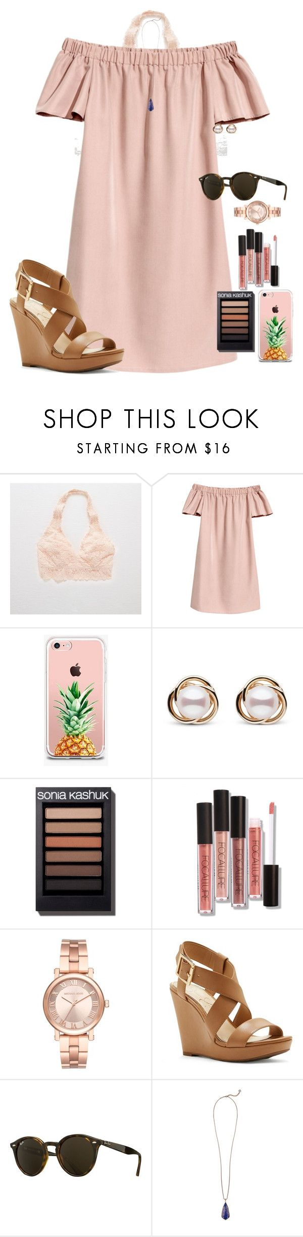 """Last day of tennis camp"" by auburnlady ❤ liked on Polyvore featuring Aerie, The Casery, Trilogy, Michael Kors, Jessica Simpson, Ray-Ban and Kendra Scott"