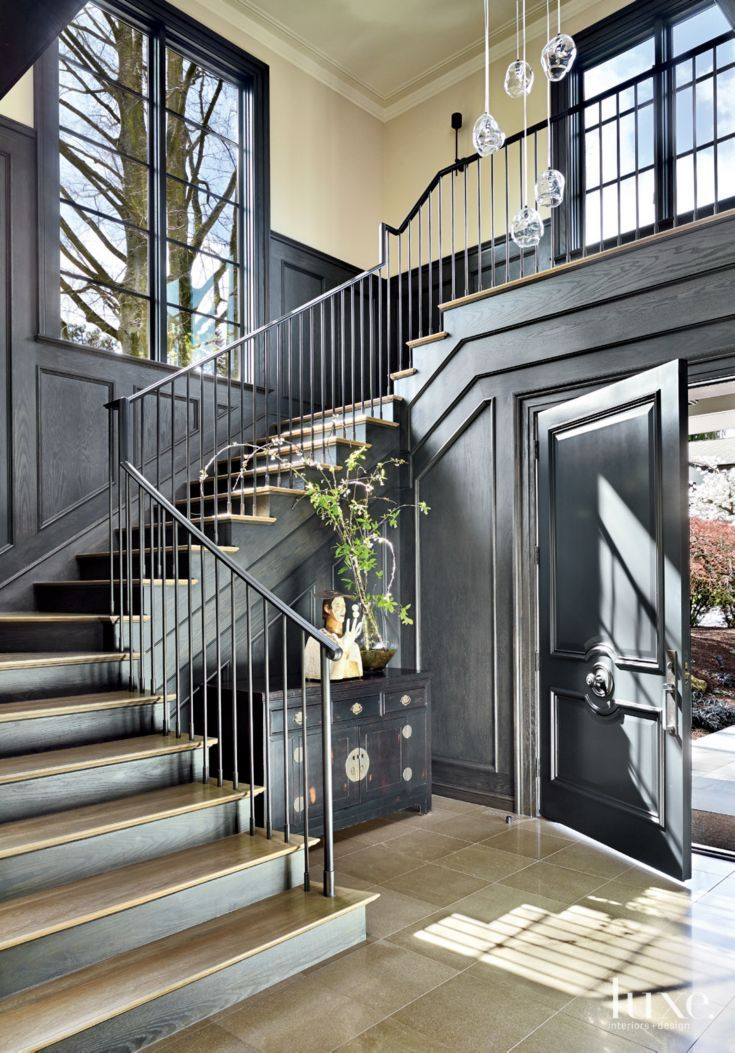 Contemporary Foyer : Contemporary black foyer with walnut paneling luxe