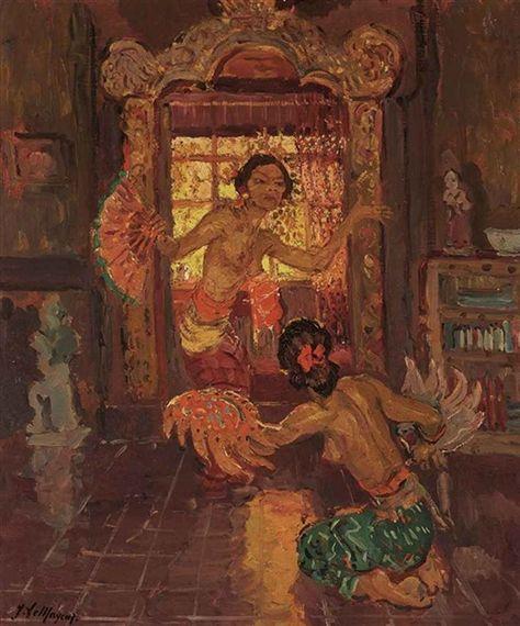 Adrien Jean Le Mayeur de Merprés - Balinese Women Dancing in an Interior..  on MutualArt.com