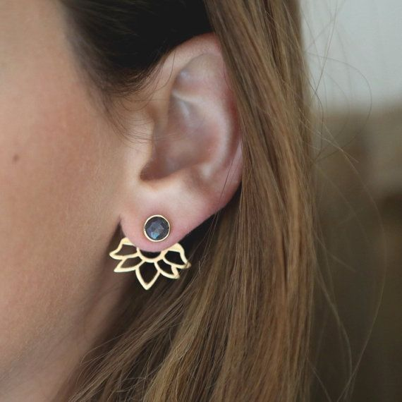 Ear jackets Blue Sapphire, Sapphire earrings,14k gold, Hand made summer stud earrings