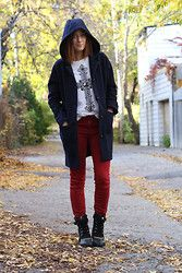 Anik L.R. - Lifetime Collective Casper Coat, Forever 21 Tee, Gap Jeggins, Sorel Conquest Carly Short Boots - Hello Fall