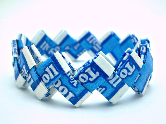 Vanilla Tootsie Roll Recycled Candy Wrapper Bracelet  by justByou, $8.00 #ABEES #RT #BOEBOT #SWAG