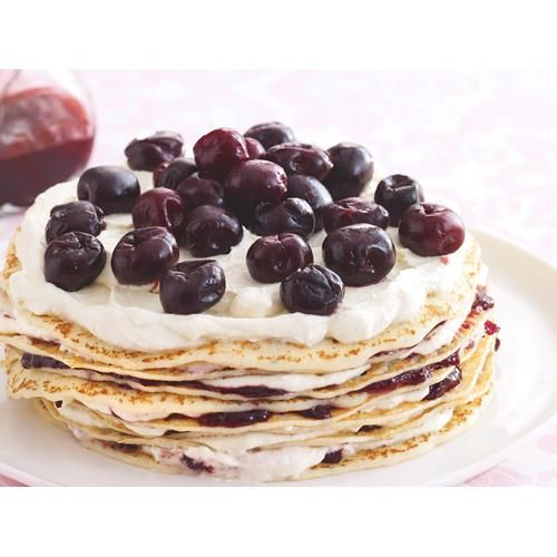 Cherry jam crepe stack recipe. Light and fluffy crepes are layered with a rich cream and sweet cherry jam to create this delicious dessert. Cut yourself a slice and enjoy with a cup of coffee for morning tea.  #Easy #Nocooking #Other #Dessert #Sugar