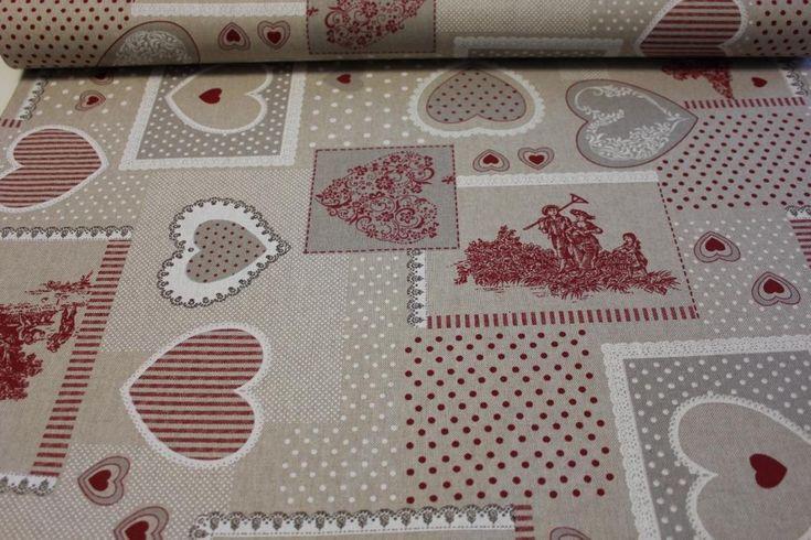 HOME DECOR / POTAHOVKY | Srdce a krajka - červená | LÁTKY METRÁŽ | PATCHWORK | GALANTERIE