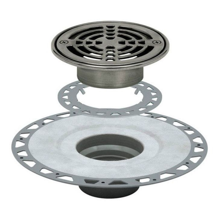 """KERDI-DRAIN Kit 6"""" Round Stainless Steel Grate - PVC Flange with 2"""" Drain Outlet - Qty: 10"""