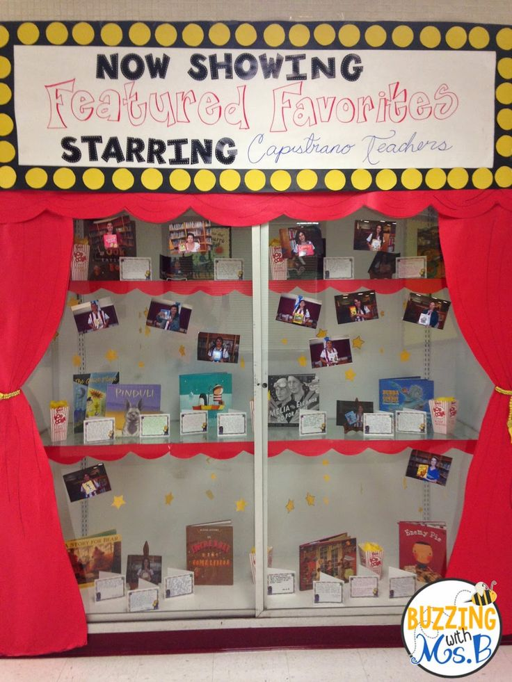 Our hallway display: Now Showing: Featured Favorites! It's a movie display full of our teachers' favorite books and their recommendations! Buzzing with Ms. B: Movie Themed Bulletin Boards and Displays!