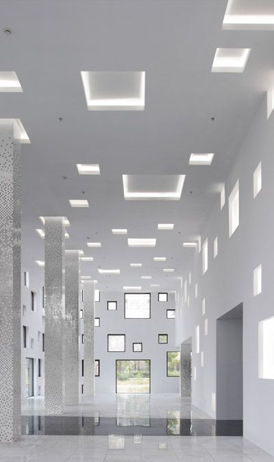 interior with rectangular geometry | Cube tube