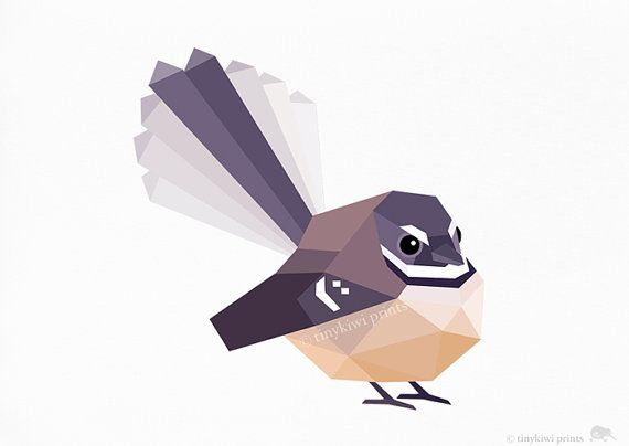 Fantail 2 Native New Zealand bird print by tinykiwiprints