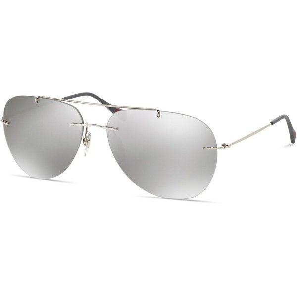 Prada Linea Rossa Pilot Rimless Sunglasses, 63mm ($260) ❤ liked on Polyvore featuring men's fashion, men's accessories, men's eyewear, men's sunglasses, silver, prada mens sunglasses, mens rimless sunglasses, prada mens eyewear and mens aviator sunglasses