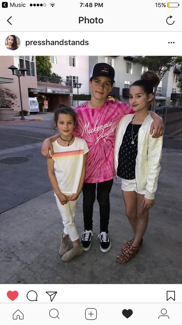 "This makes me mad. He's with Annie and Hayley and he's wearing a shirt that says ""Mackenzie Ziegler"""
