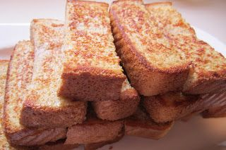Baked Cinnamon French Toast Sticks ~ Ingredients: *3 eggs *1/4 cup of milk *1/2 teaspoon cinnamon *1/2 teaspoon vanilla extract *Non-Stick Cooking Spray (I used PAM) *6 slices of thickly sliced bread (I chose Texas Toast style sliced bread).
