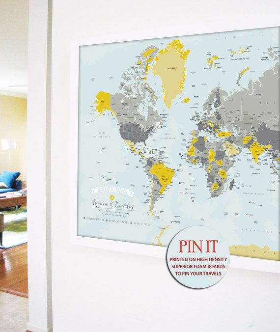 personalized World Map Extra Large 30X45 Inches by TexturedINK