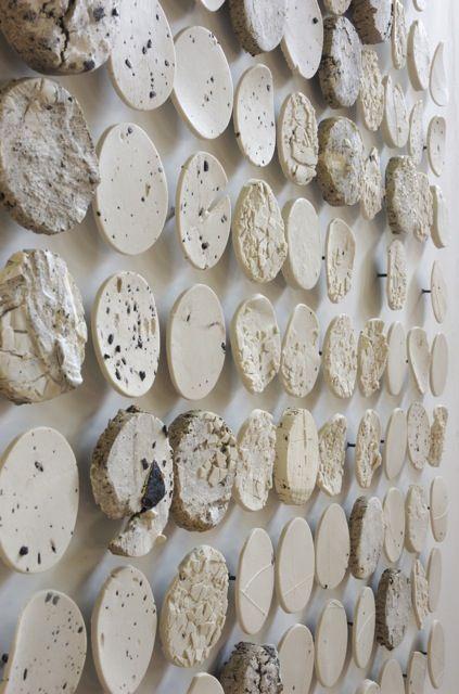 "Margaret Boozer - Dichotomy of Dirt , 2007  Black stoneware, Stancill Stoneware, Porcelain, white earthenware  65"" x 30 "" x 1.5"""