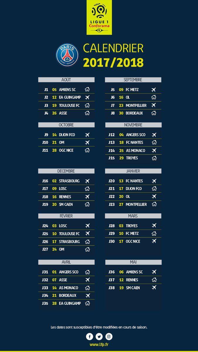La LFP dévoile le calendrier complet de la Ligue 1 2017-2018 | AllezParis - PSG