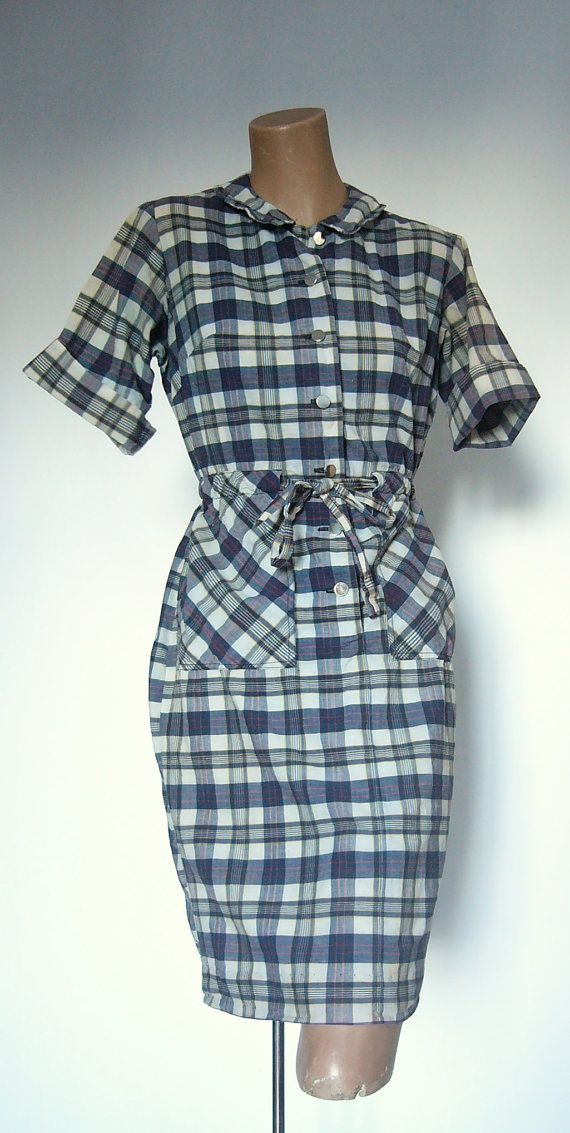 1960s Preppy Madras Shirt Dress Peter Pan Collar by VintageZipper, $28.00