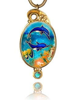 Patsy Croft Dolphins in the Sea Cloisonne enameled dolphins set in an 18k gold pendant.