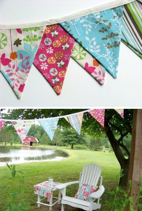 A banner like this could have a letter on ea. triangle to spell:  LEMONADE  The curtains still need to be hemmed.  I'm sending them with Dan.    Thanks Tara