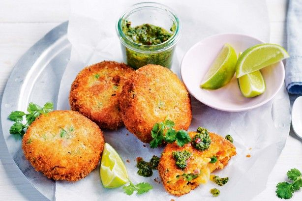 Satisfy hungry tummies with these golden potato and ham cakes served with coriander pesto and fresh lime.