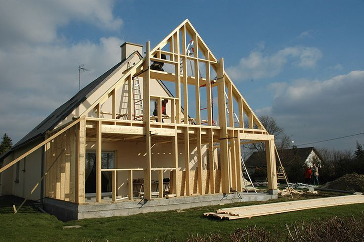 R alisation d 39 une extension ossature bois bardage m l ze for Agrandissement maison 45