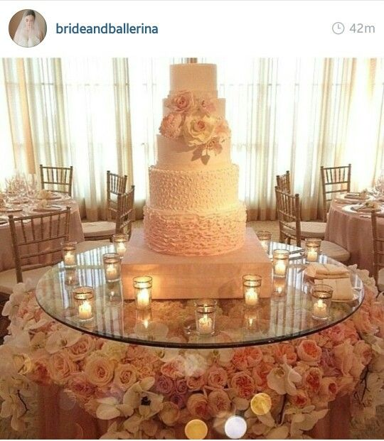 Wedding Cake Tables Decorating Ideas: Beautiful Fresh Flowers Under Glass Cake Display Table For