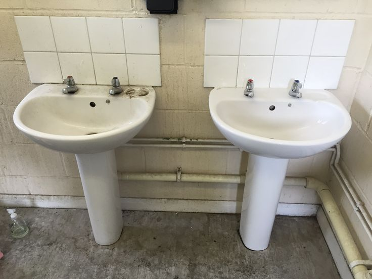 Before :'( and after :) sinks at an animal feed mill. They both came up really nicely in the end (after a lot of hard work!) ;)