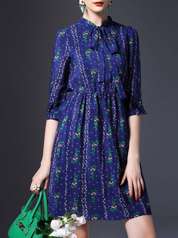 Floral-print Bow Mini Dress