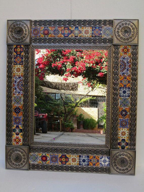 Punched Tin Mirror Mixed Talavera Tile Handmade Mexican