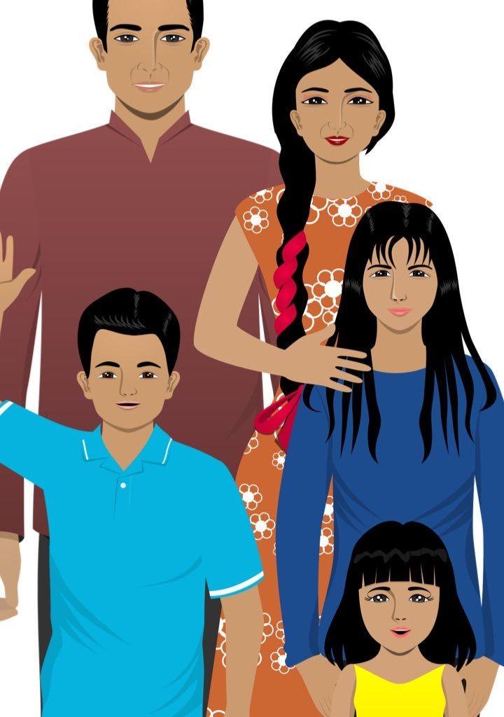 Custom family illustration for eLearning
