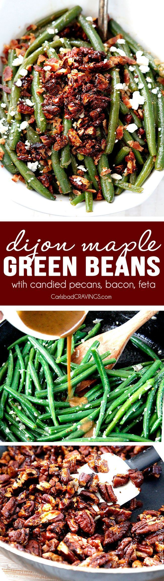 "Dijon Maple Green Beans with Caramelized Pecans, Bacon and Feta | these aren't your grandmother's green beans! Tangy, salty, sweet, crunchy, crispy, creamy AKA, ""the best green beans ever."" Not just for Thanksgiving but a year round company pleasing, delicious side. #Thanksgivingside via /carlsbadcraving/"